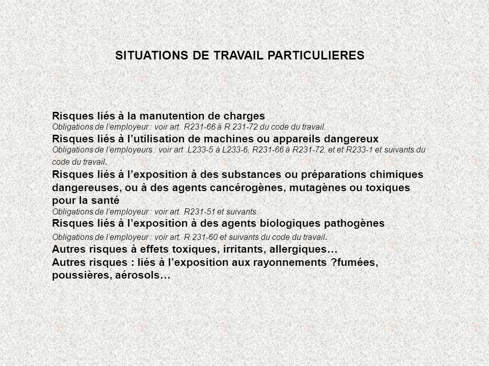 SITUATIONS DE TRAVAIL PARTICULIERES