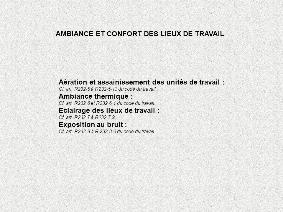 AMBIANCE ET CONFORT DES LIEUX DE TRAVAIL