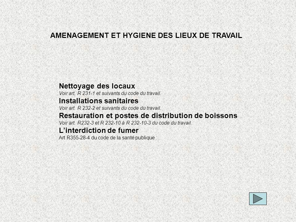 AMENAGEMENT ET HYGIENE DES LIEUX DE TRAVAIL
