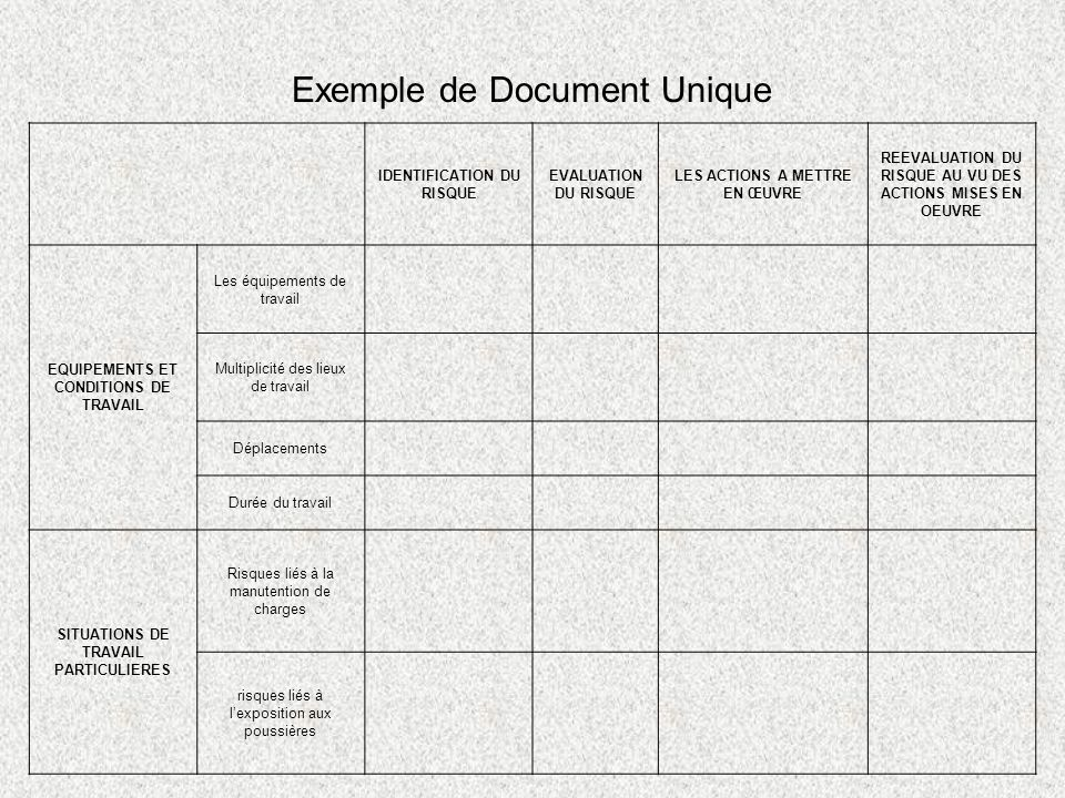 Exemple de Document Unique