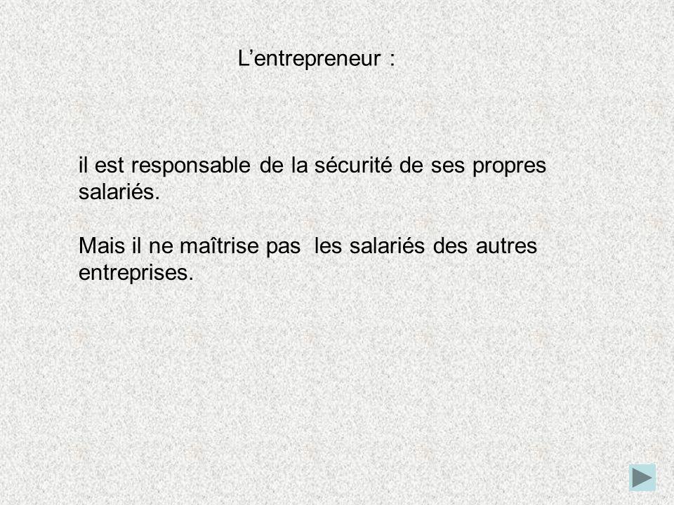 L'entrepreneur : il est responsable de la sécurité de ses propres salariés.