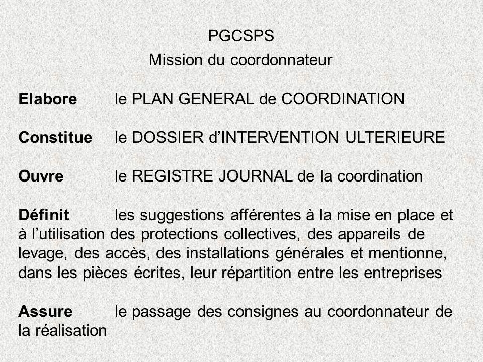 PGCSPS Mission du coordonnateur. Elabore le PLAN GENERAL de COORDINATION. Constitue le DOSSIER d'INTERVENTION ULTERIEURE.