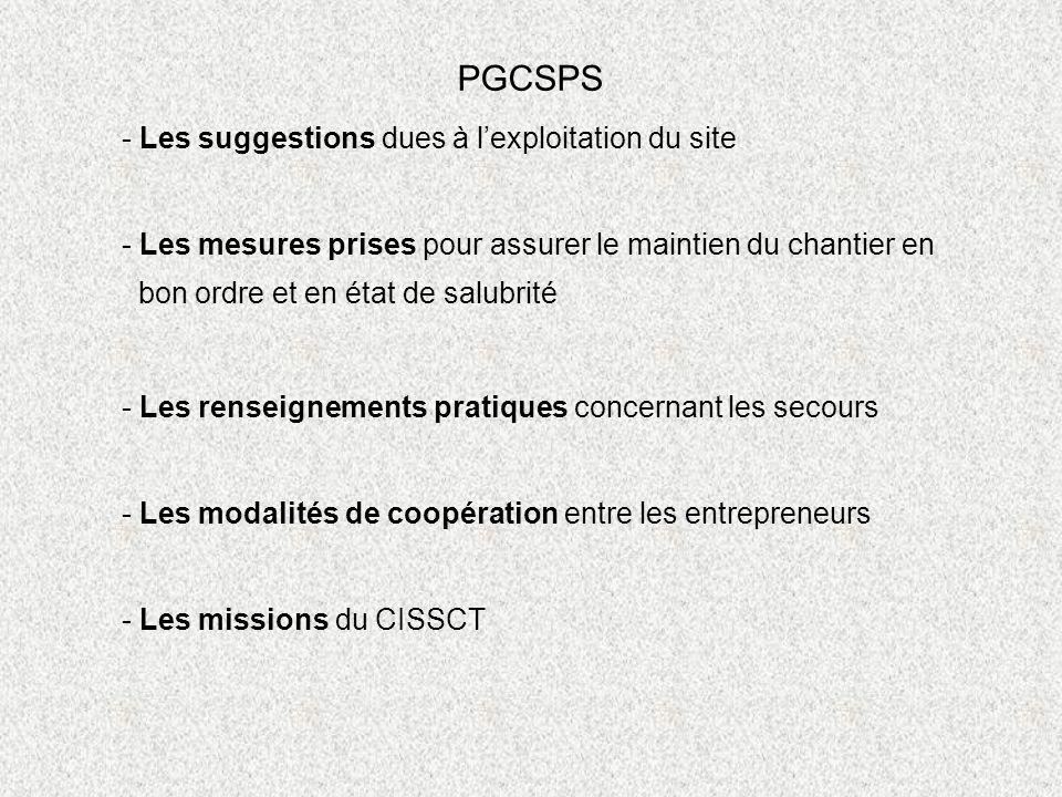 PGCSPS - Les suggestions dues à l'exploitation du site
