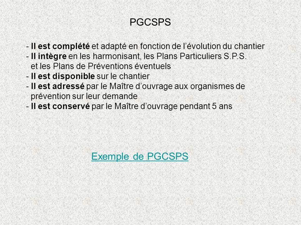 PGCSPS Exemple de PGCSPS