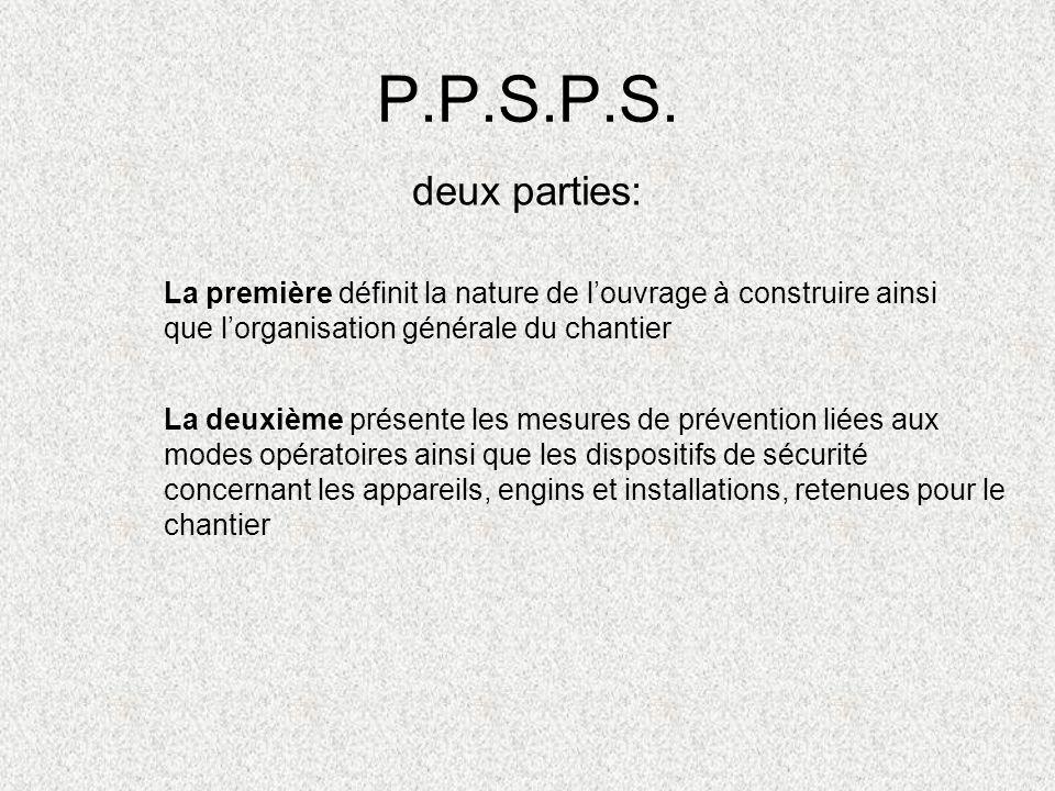 P.P.S.P.S. deux parties: La première définit la nature de l'ouvrage à construire ainsi que l'organisation générale du chantier.