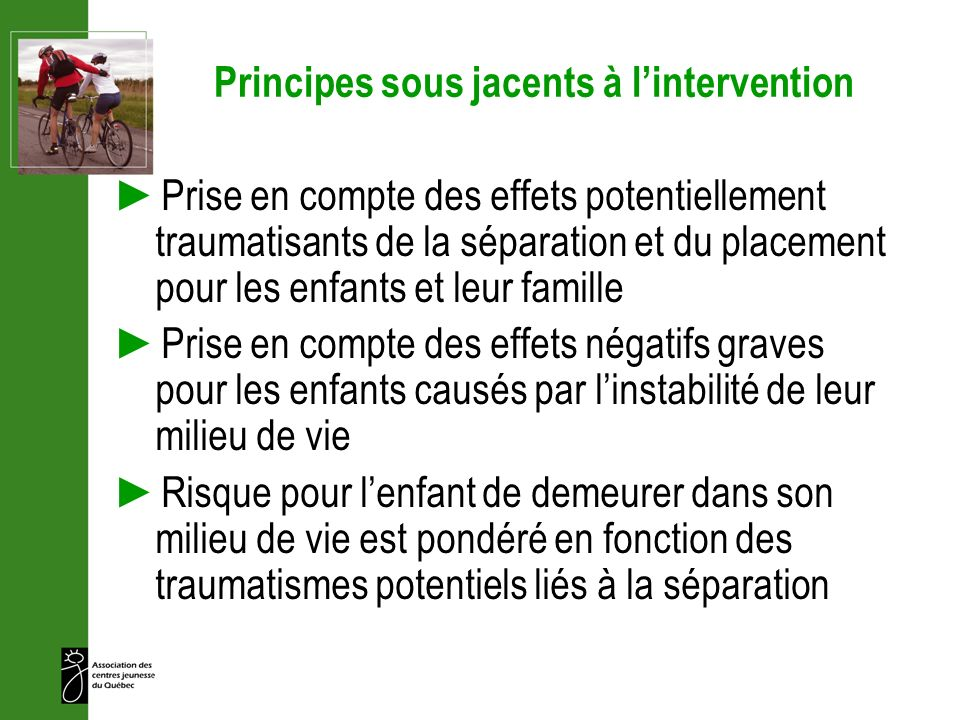 Principes sous jacents à l'intervention