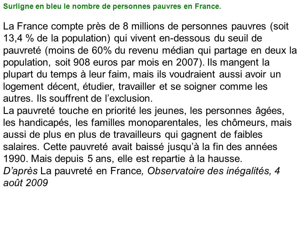 Surligne en bleu le nombre de personnes pauvres en France.