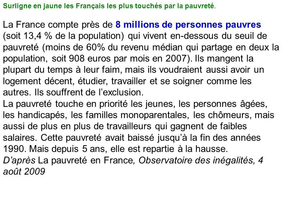 Surligne en jaune les Français les plus touchés par la pauvreté.