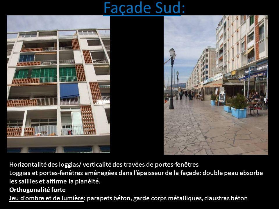 Façade Sud: Horizontalité des loggias/ verticalité des travées de portes-fenêtres.