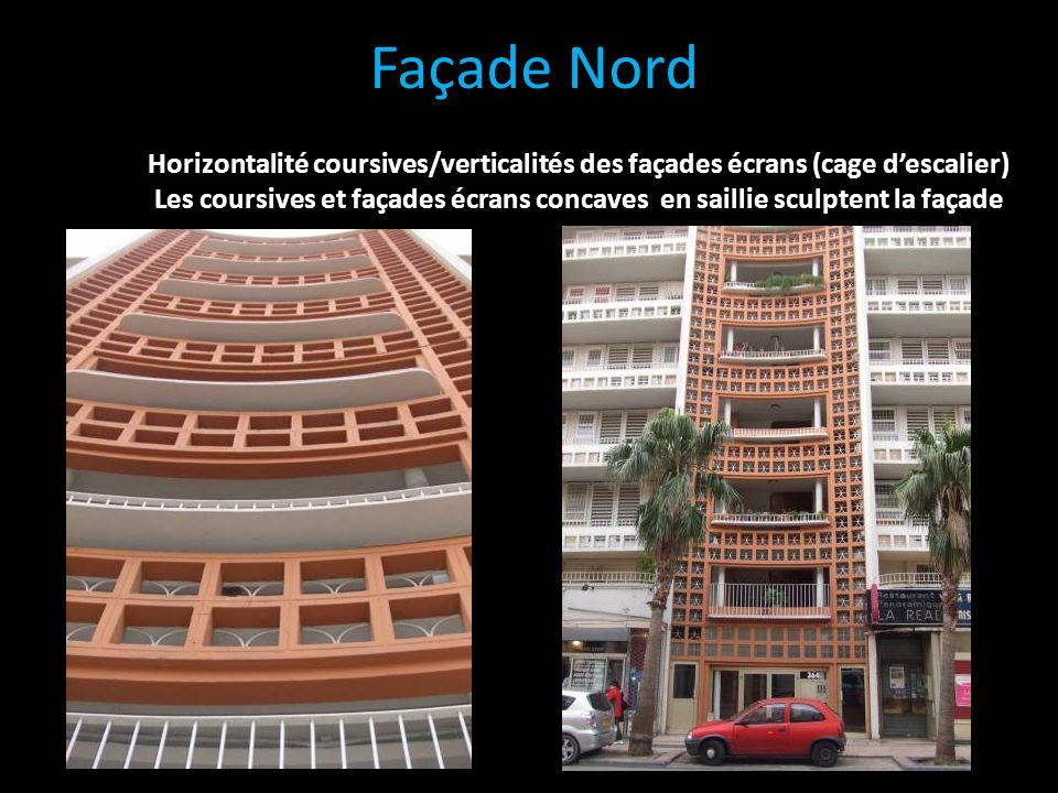 Façade Nord Horizontalité coursives/verticalités des façades écrans (cage d'escalier)