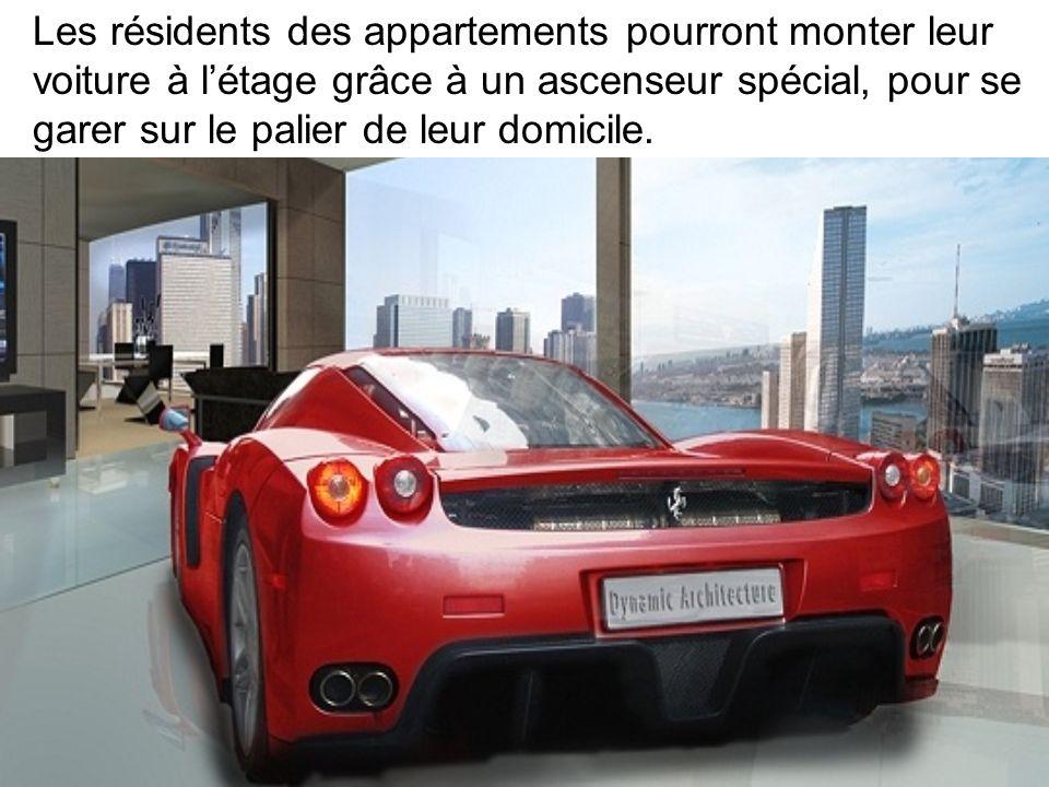 Les résidents des appartements pourront monter leur voiture à l'étage grâce à un ascenseur spécial, pour se garer sur le palier de leur domicile.