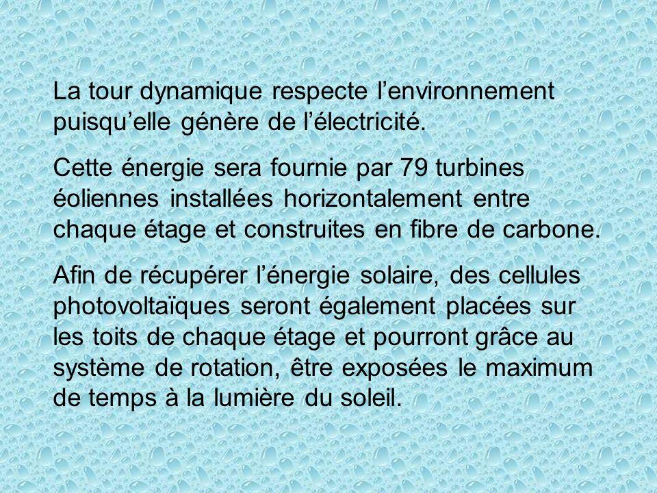 La tour dynamique respecte l'environnement puisqu'elle génère de l'électricité.