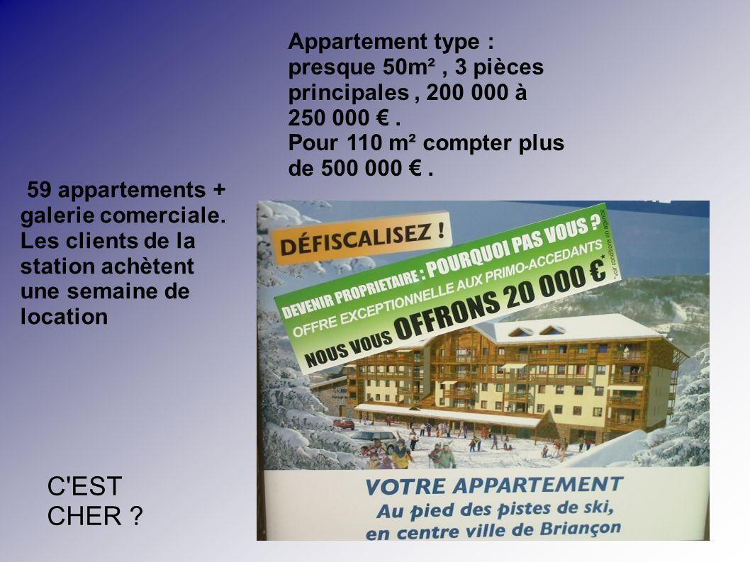 Appartement type : presque 50m² , 3 pièces principales , 200 000 à 250 000 € . Pour 110 m² compter plus de 500 000 € .