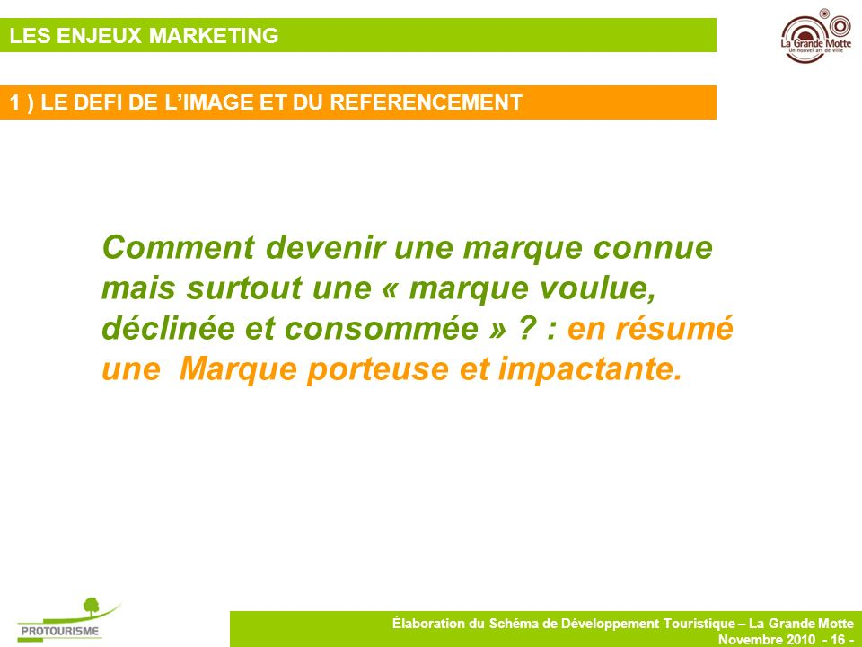 LES ENJEUX MARKETING 1 ) LE DEFI DE L'IMAGE ET DU REFERENCEMENT.