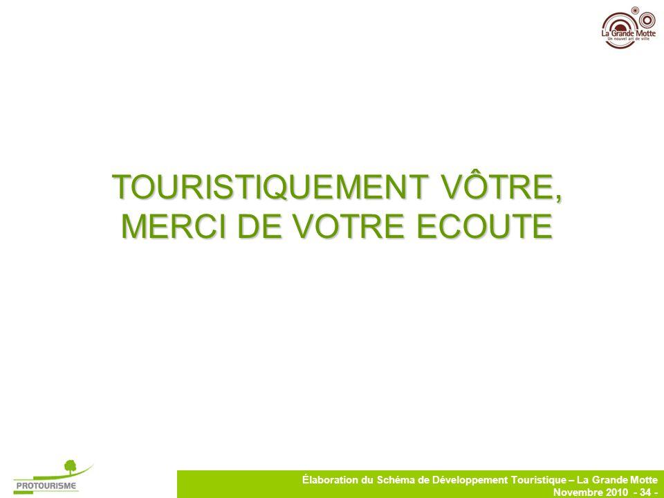 TOURISTIQUEMENT VÔTRE, MERCI DE VOTRE ECOUTE