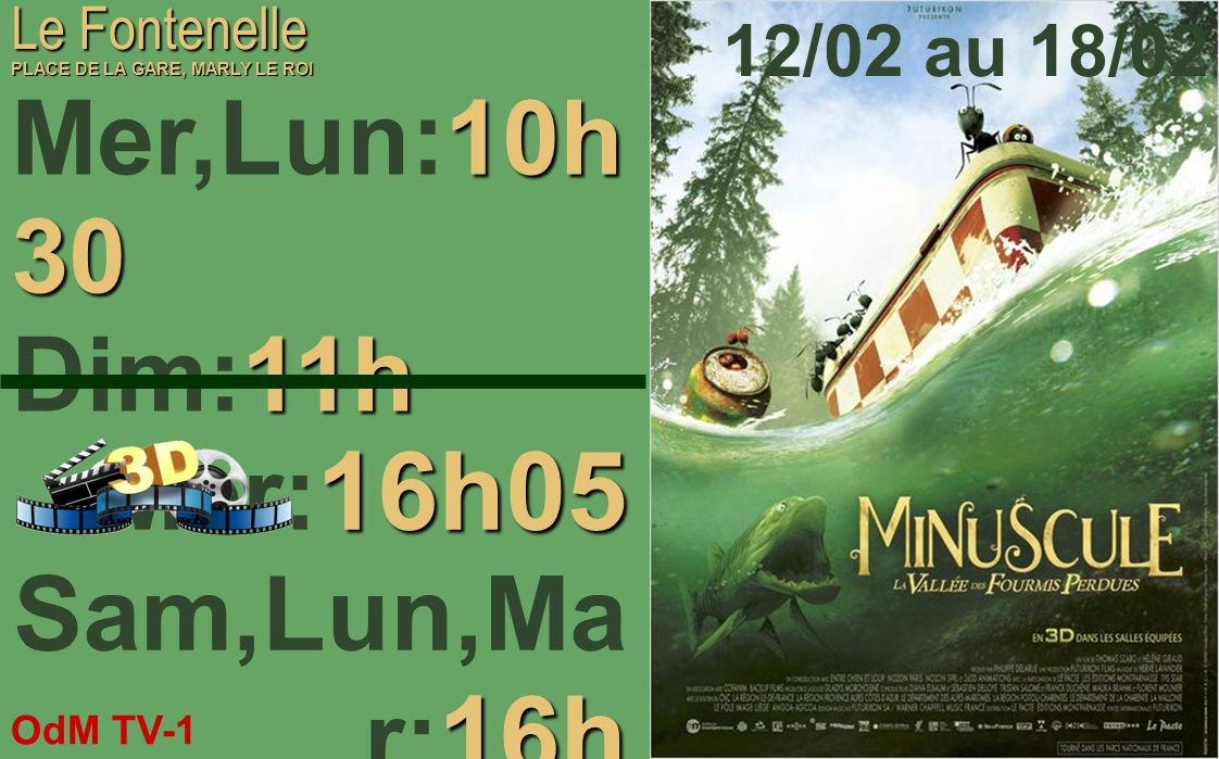 Mer,Lun:10h30 Dim:11h Mer:16h05 Sam,Lun,Mar:16h 12/02 au 18/02