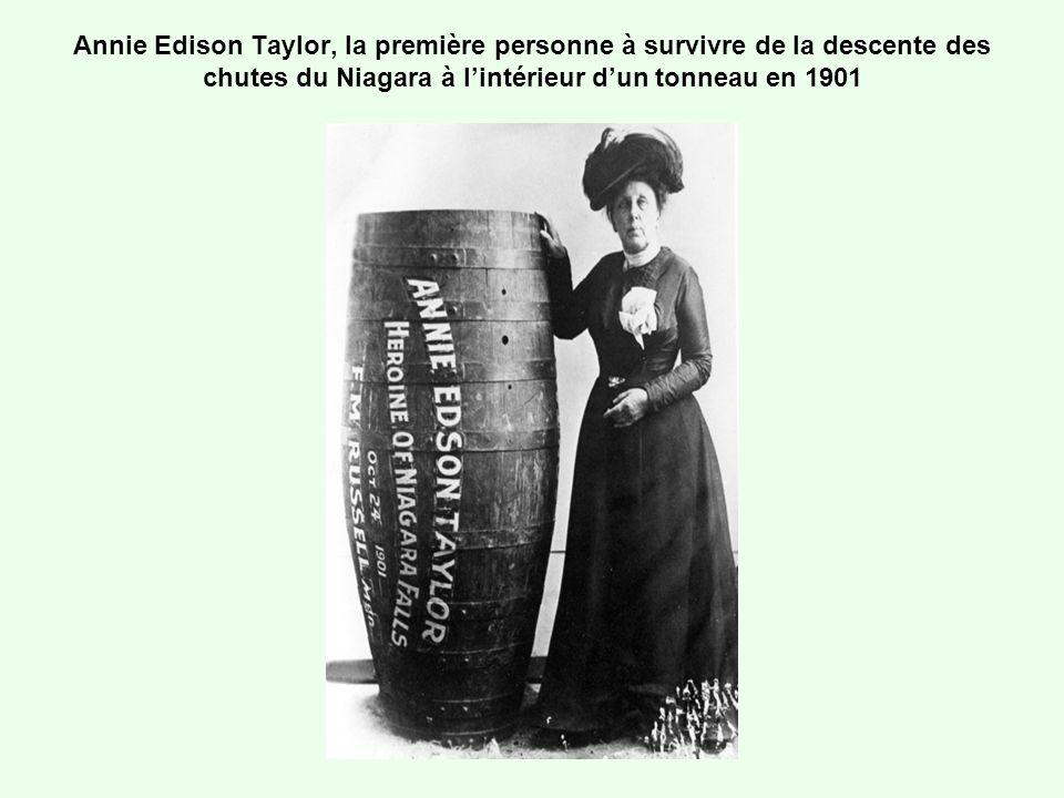 Annie Edison Taylor, la première personne à survivre de la descente des chutes du Niagara à l'intérieur d'un tonneau en 1901