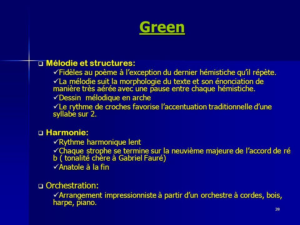 Green Mélodie et structures: Harmonie: Orchestration: