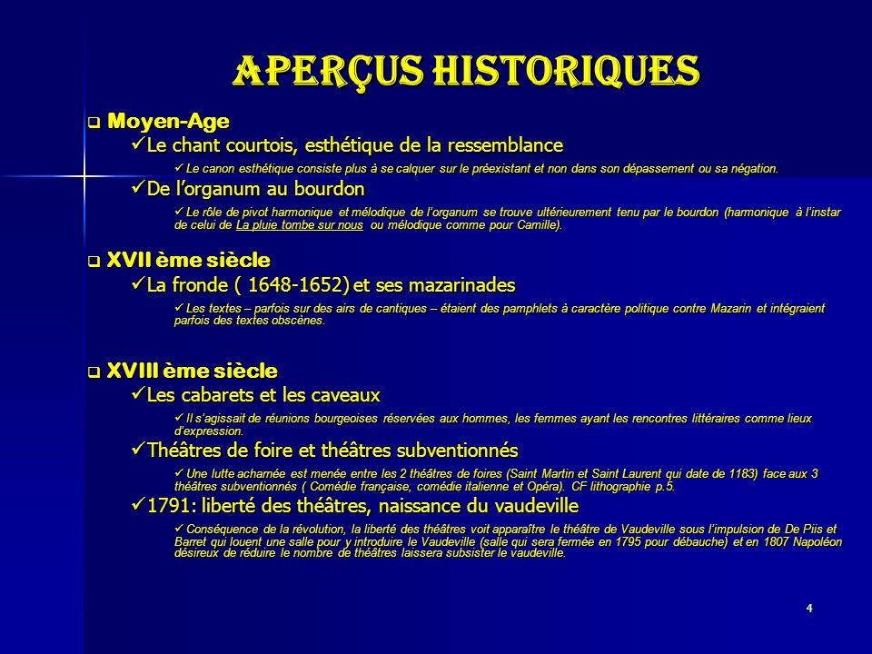 Aperçus historiques Moyen-Age XVII ème siècle XVIII ème siècle