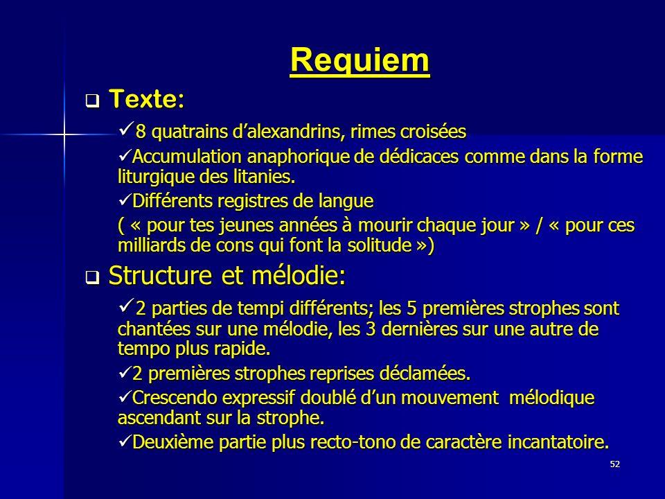 Requiem Texte: Structure et mélodie: