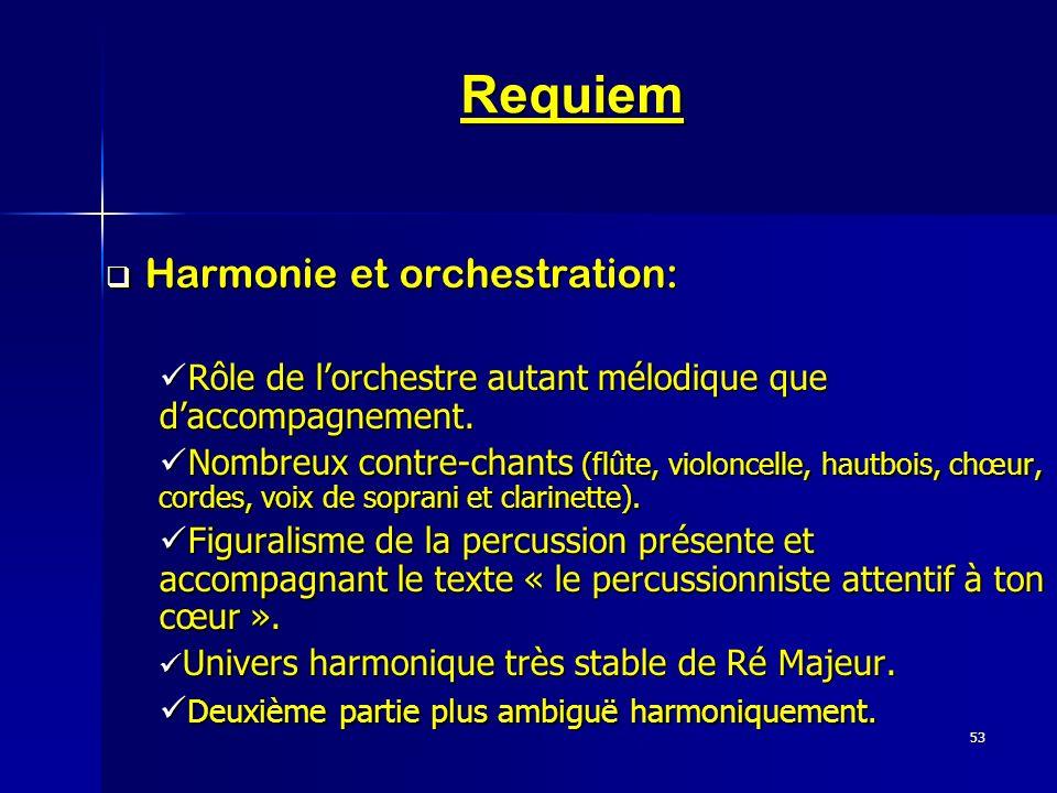 Requiem Harmonie et orchestration: