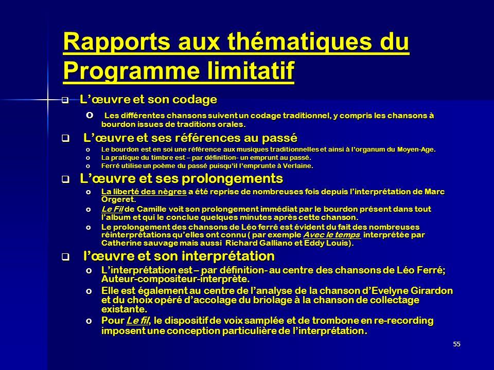 Rapports aux thématiques du Programme limitatif