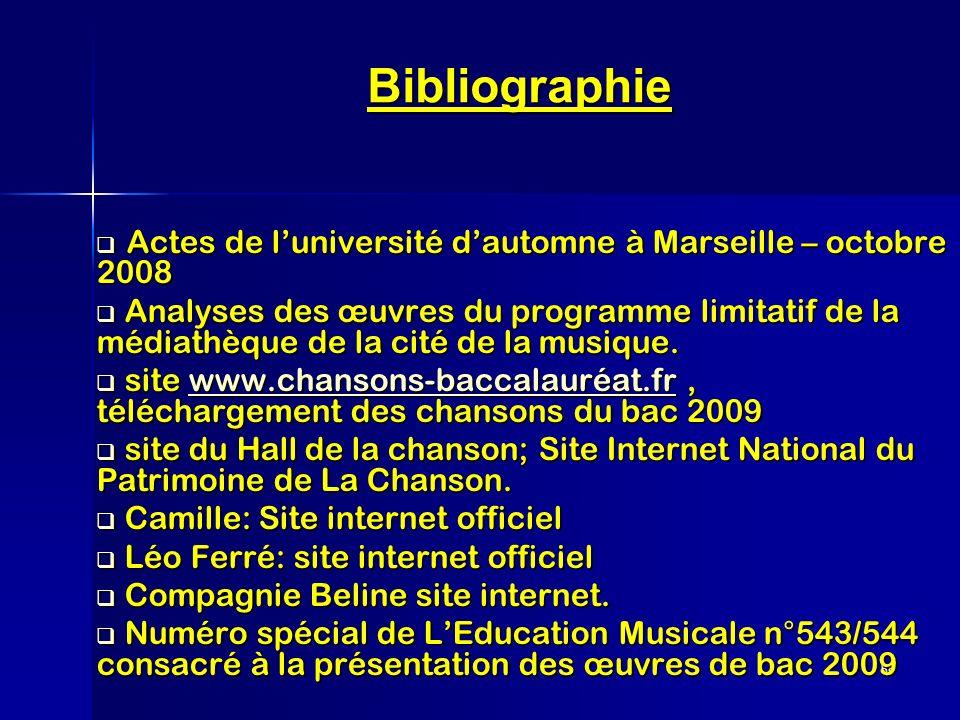 Bibliographie Actes de l'université d'automne à Marseille – octobre 2008.