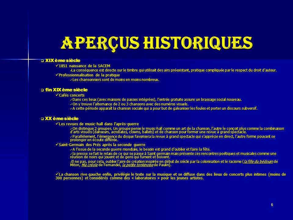 Aperçus historiques XIX ème siècle fin XIX ème siècle XX ème siècle
