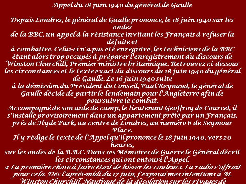 Appel du 18 juin 1940 du général de Gaulle