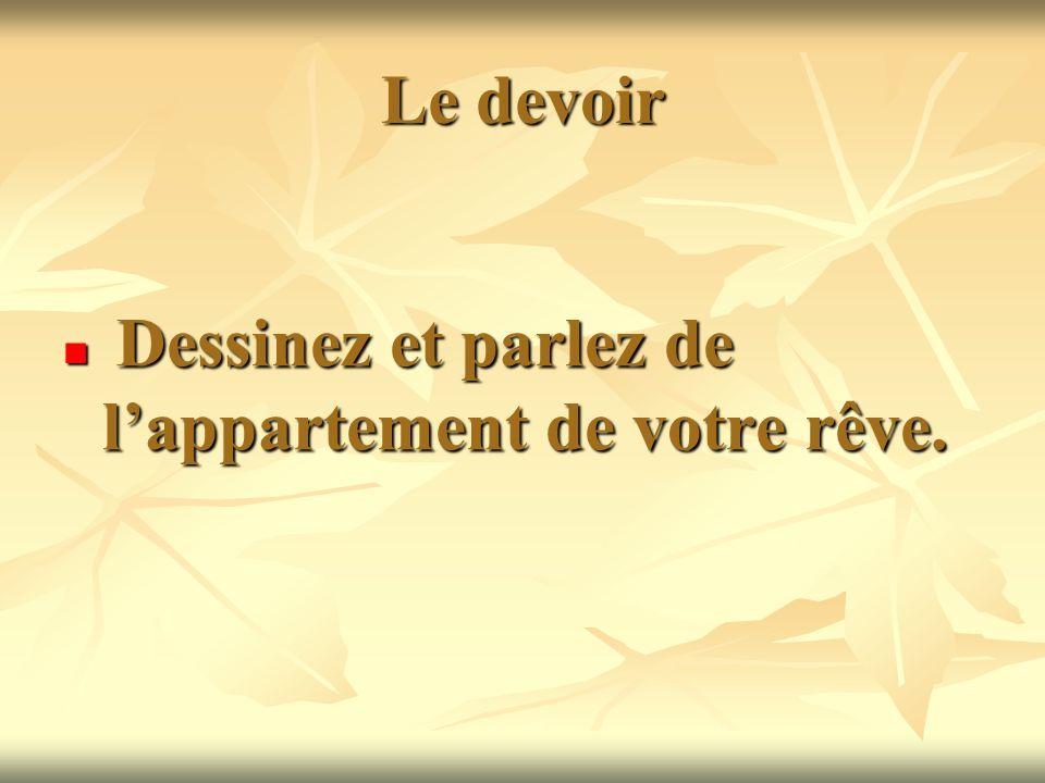 Le devoir Dessinez et parlez de l'appartement de votre rêve.