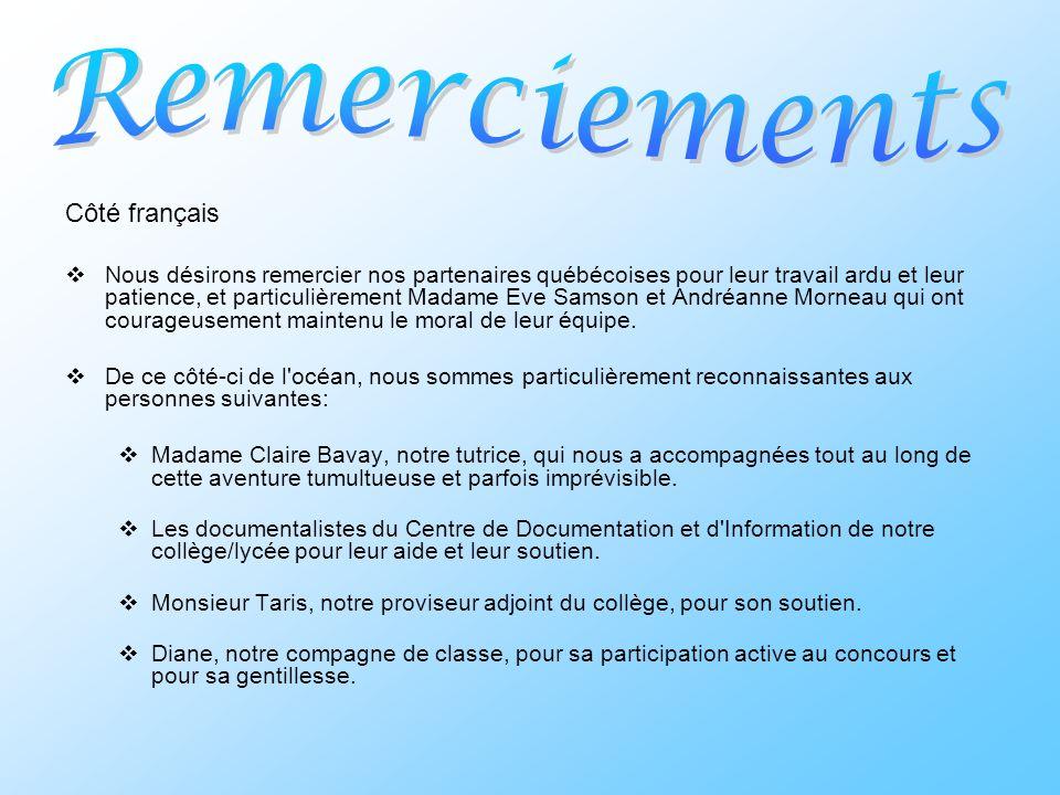 Remerciements Côté français