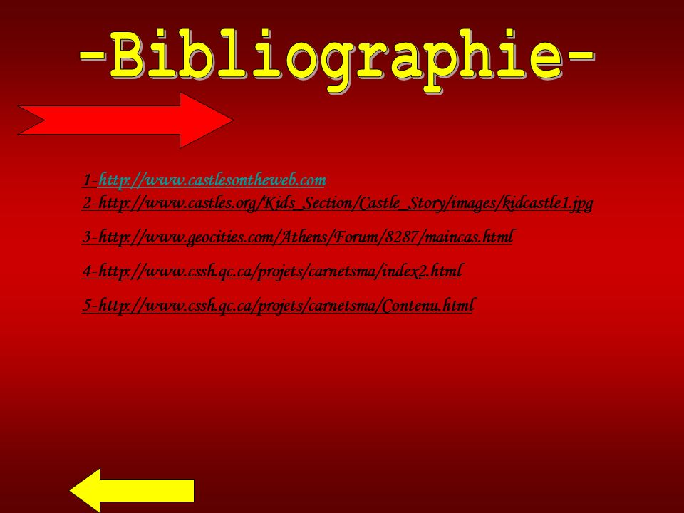-Bibliographie- 1-http://www.castlesontheweb.com 2-http://www.castles.org/Kids_Section/Castle_Story/images/kidcastle1.jpg.