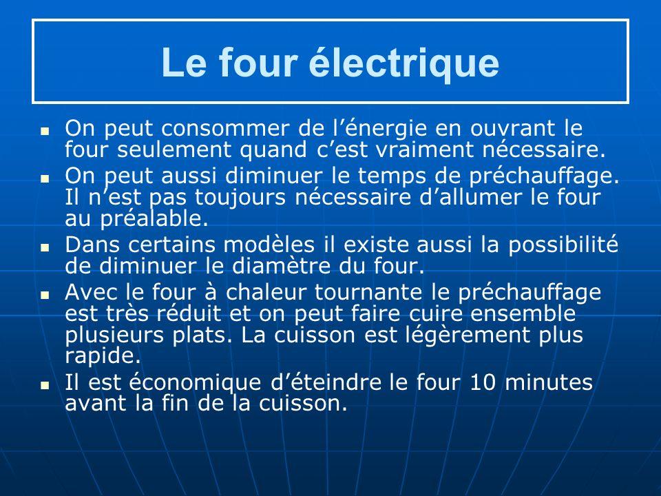 Le four électrique On peut consommer de l'énergie en ouvrant le four seulement quand c'est vraiment nécessaire.