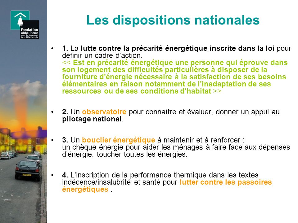 Les dispositions nationales