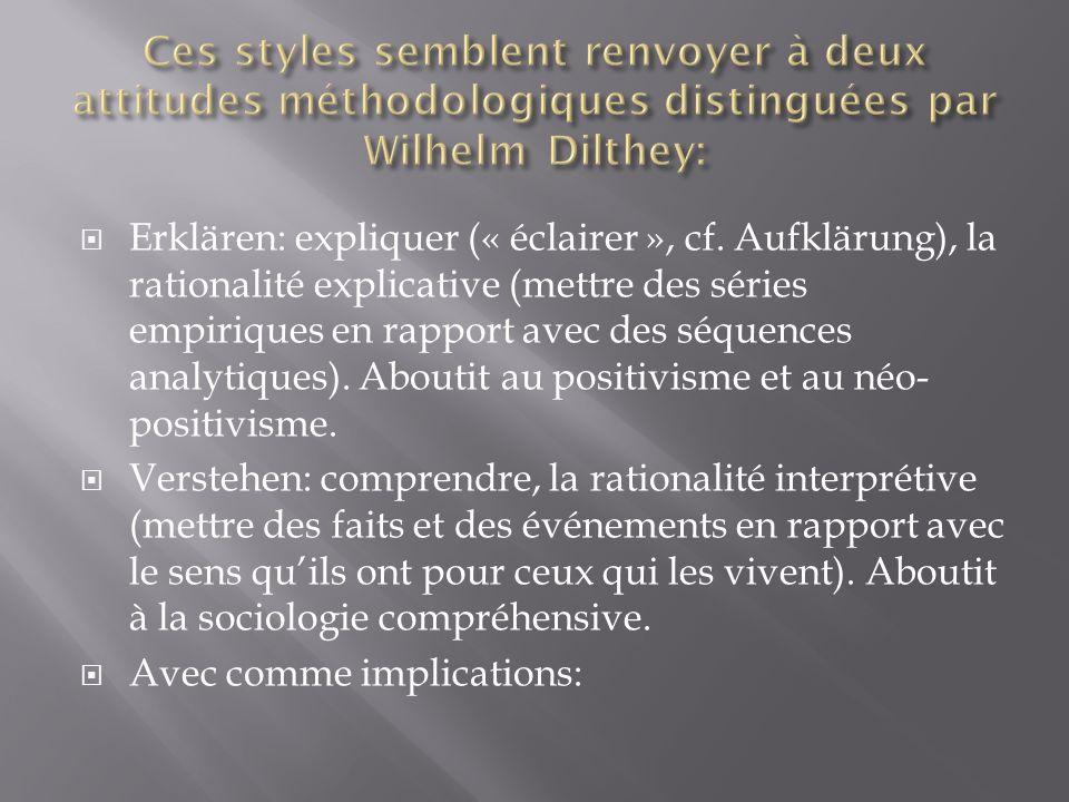 Ces styles semblent renvoyer à deux attitudes méthodologiques distinguées par Wilhelm Dilthey: