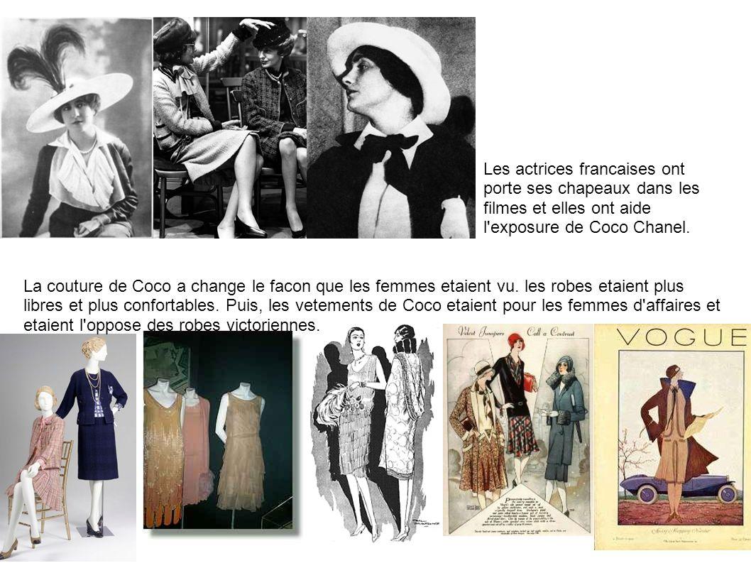 Les actrices francaises ont porte ses chapeaux dans les filmes et elles ont aide l exposure de Coco Chanel.