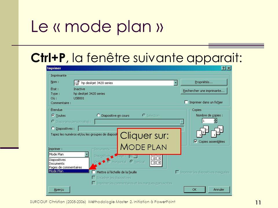 Le « mode plan » Ctrl+P, la fenêtre suivante apparait: Cliquer sur: