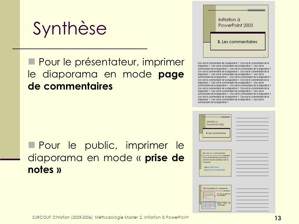 Synthèse Pour le présentateur, imprimer le diaporama en mode page de commentaires. Pour le public, imprimer le diaporama en mode « prise de notes »
