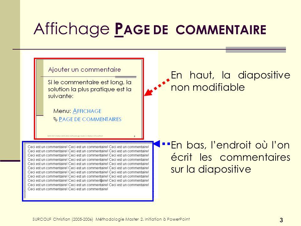 Affichage PAGE DE COMMENTAIRE