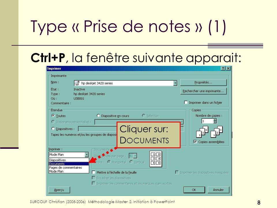 Type « Prise de notes » (1)