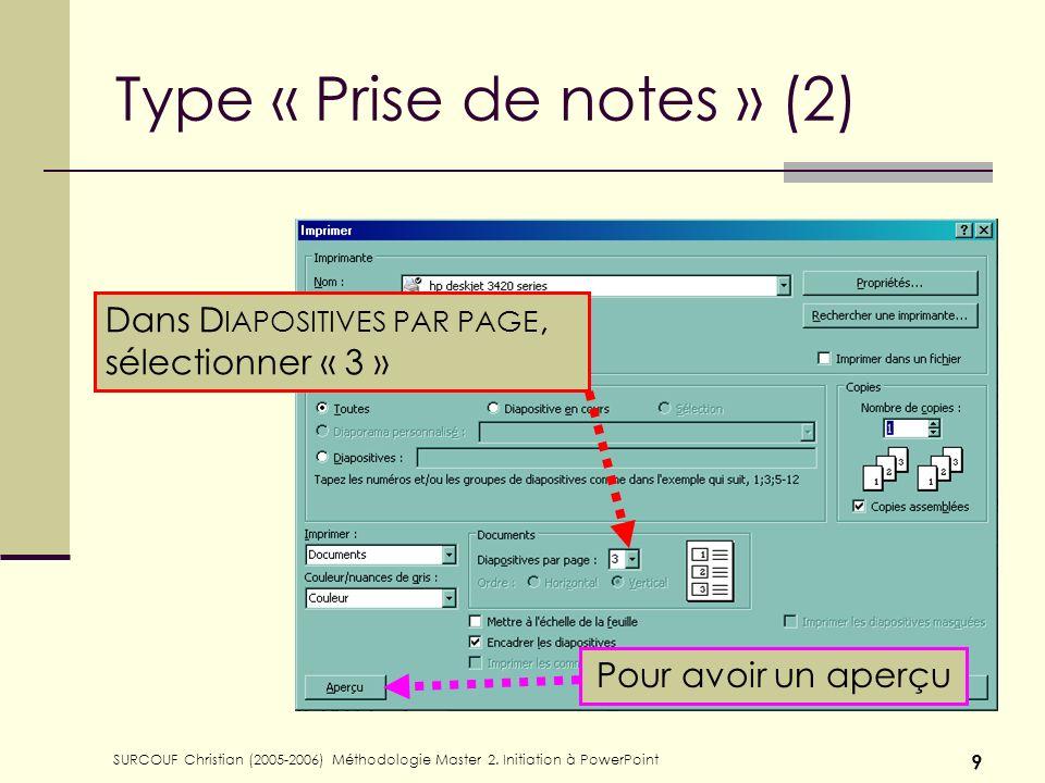Type « Prise de notes » (2)