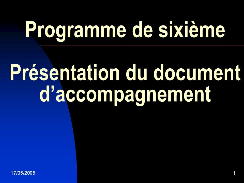 Programme de sixième Présentation du document d'accompagnement