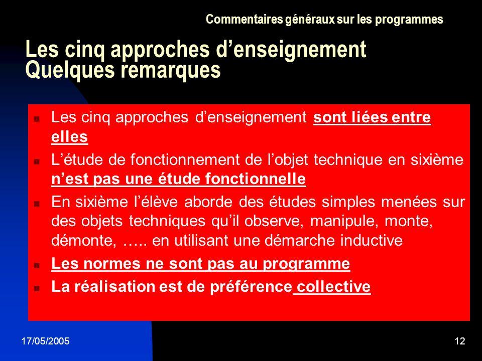 Les cinq approches d'enseignement Quelques remarques