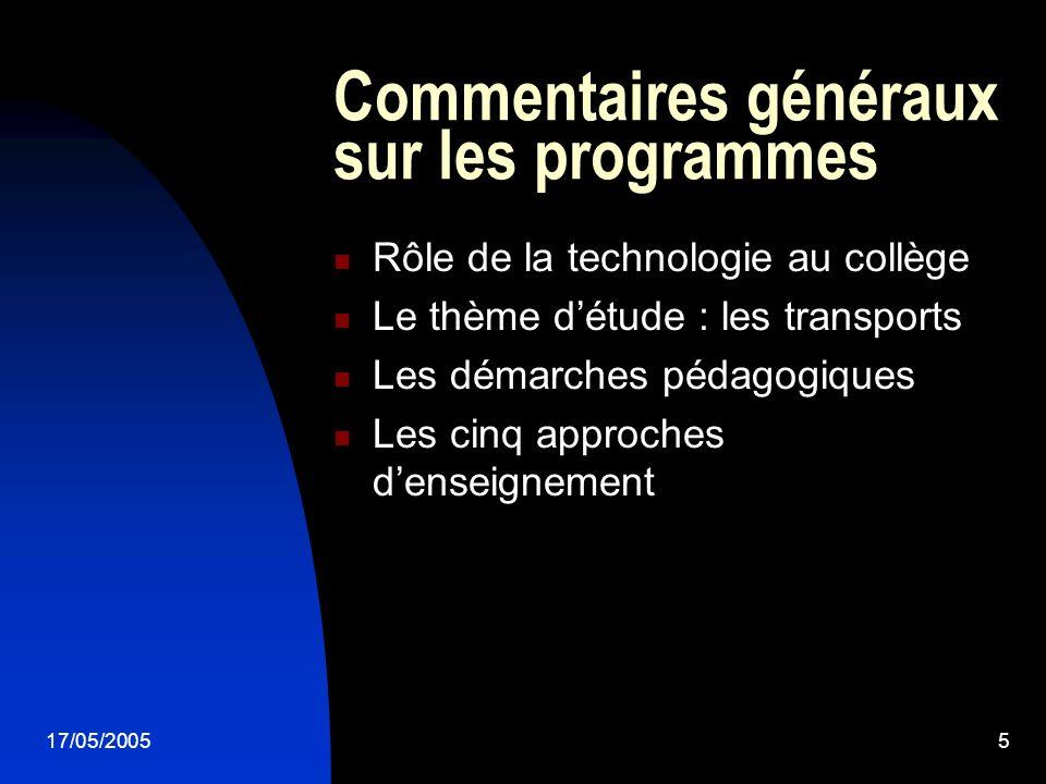 Commentaires généraux sur les programmes