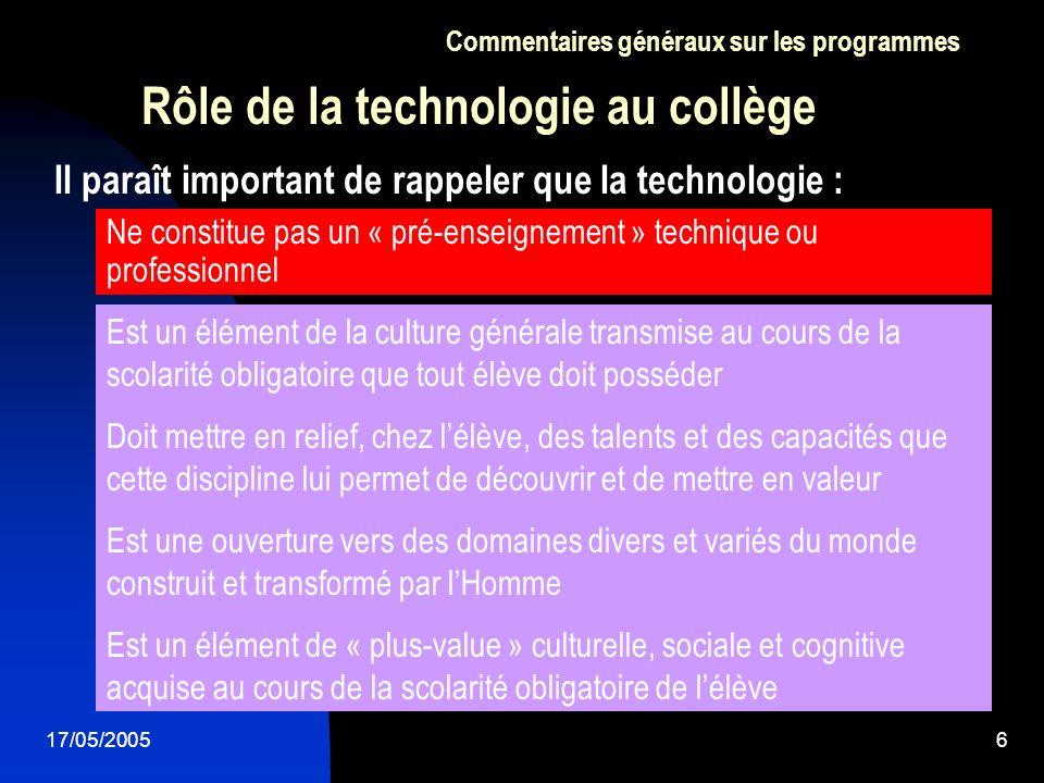 Rôle de la technologie au collège
