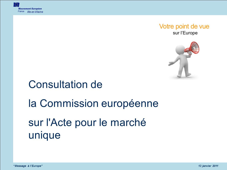 la Commission européenne sur l Acte pour le marché unique