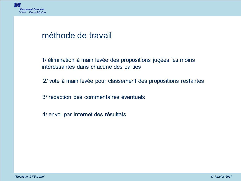 Ille-et-Vilaine Message à l'Europe 13 janvier 2011. méthode de travail.