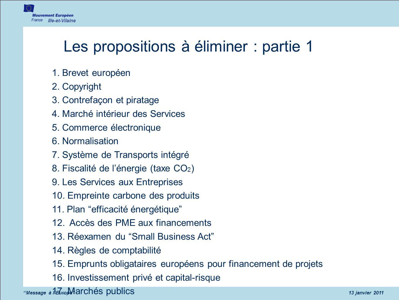 Les propositions à éliminer : partie 1