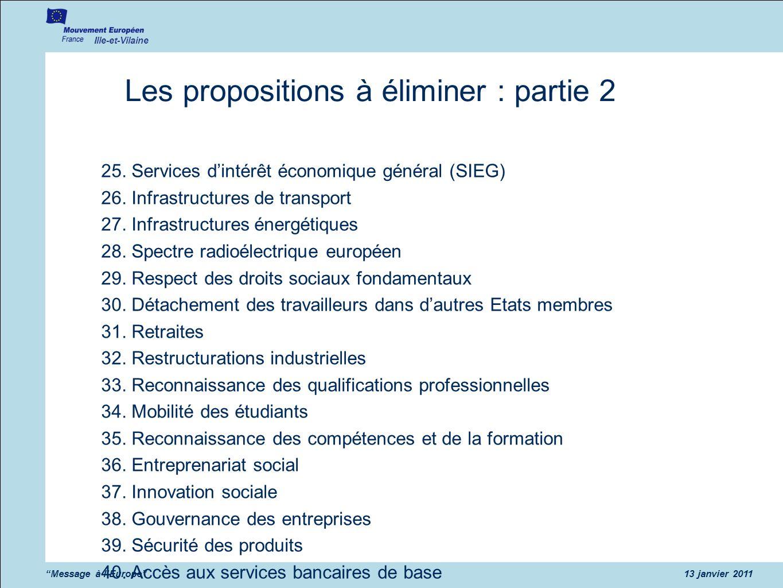 Les propositions à éliminer : partie 2