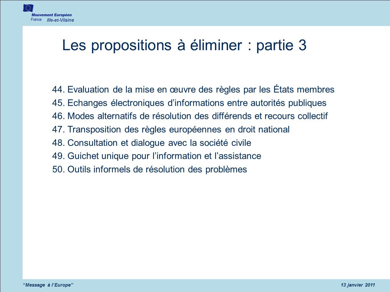Les propositions à éliminer : partie 3
